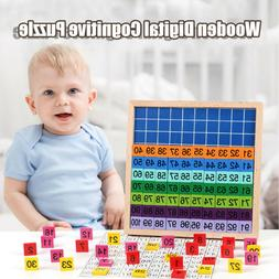 100PC Wood Math Blocks Shape Sorter Number and Match Learnin
