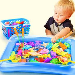 14pcs Set Magnetic Fishing Toys Child Kids 3D Fish Baby Bath