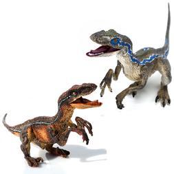 2 x Jurassic Velociraptor Figures Raptors Dinosaurs Toys Edu
