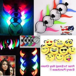 2x led light evil horns headband headwear