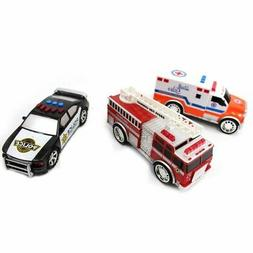3-in-1 Emergency Vehicle Toy PlaySet for Kids w/ Lights and