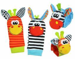 4pcs Cute Animal Infant Baby Kids Hand Wrist Bell Foot Sock