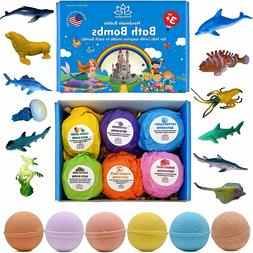 6 Bath Bombs Gift Set for Kids and Teens with Sea Animals To