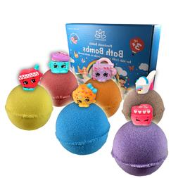 6 Bath Bombs Kit Set for Kids and Teens with SHOP Mini Toys