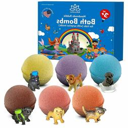 6 Organic Bath Bombs For Kids with Surprise Inside LITTLE PU