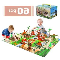 60pcs Kids Dinosaur Toys for Age 3 4 5 6 7 8 9yr Year Old Bo