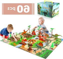 baccow 60pcs Kids Dinosaur Toys for Age 3 4 5 6 7 8 9yr Year