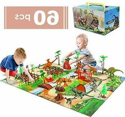 baccow 60pcs Kids Dinosaur Toys for Age 3 4 5 6 7 8 9yr Year