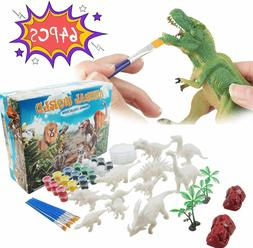 Rapify 64 PCS 3D Dinosaur Toys for Kids DIY Arts Crafts and