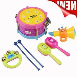 7Pcs Kids Roll Drum Musical Instruments Hand Bell Trumpet Pe