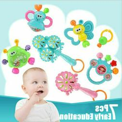 7Pcs Newborn Toddler Baby Shaking Bell Rattles Set Teether T