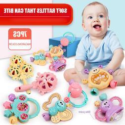 7Pcs Newborn Toddler Shaking Bell Rattles Teether Toy Baby K