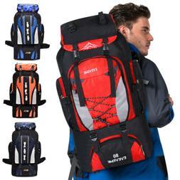 80L Outdoor Travel Hiking Camping Backpack Waterproof Rucksa