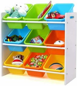 9 Compartment Toddler Kids Toy Bins Storage Box Shelves Play