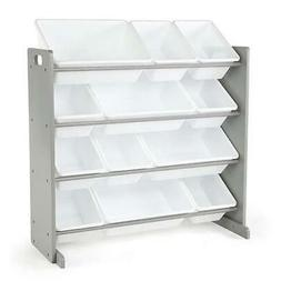 A Kids Toy Storage Organizer With 12 Plastic Bins, Grey And