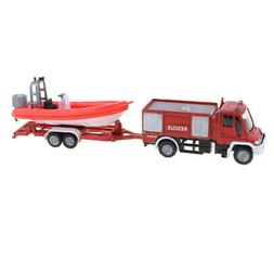 Alloy Rescue Truck with Tugboat Diecast Vehicles Toy for Kid