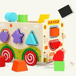 Bus Shape Sorter Matching Wooden Blocks Children Intelligenc