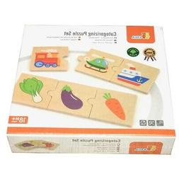 CATEGORIES Sorting Matching Wooden Puzzle SET 24 pc Educatio