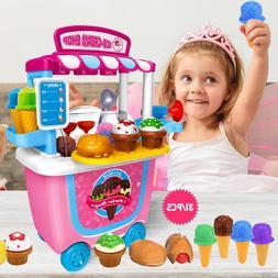 Cute DIY Pretend Supermarket Ice Cream Cart Shop Toys 31pcs