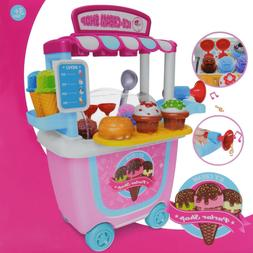 Cute Kids Ice Cream Cart Shop Toys Dessert Sundae Kitchen Pr