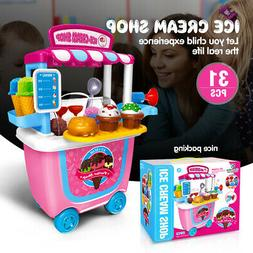 Cute Kids Simulation Ice Cream Shop Dress Cart Pretend Toy S