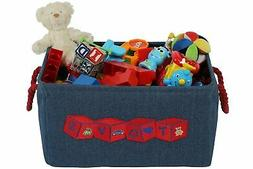 Denim Storage Basket Bin for Baby Kids Dog Toys & Books, w/A