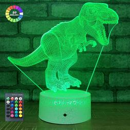 Dinosaur 3D Night Light for Boys with 16 Colors Changing Kid