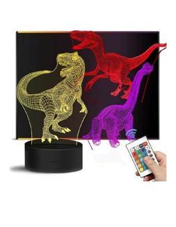 Dinosaur Night Lights 3D Kids Bedside Lamp 7 Colors Change T