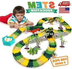 Growsland Dinosaur Race Car Track Set Toy 192 PCS 3 Cars 4 D
