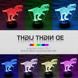 Dinosaur Toy, T-Rex 3D Night Light 7 Colors Changing Night L