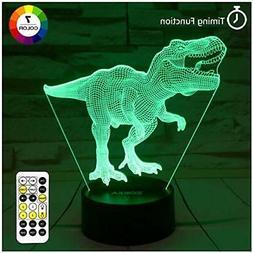 Dinosaur Toys, T Rex 3D Night Light 7 Colors Changing Night