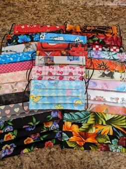 Handmade* Cotton Fabric Face Mask with filter pocket* USA* 2