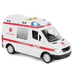 Large Friction Powered Rescue Ambulance 1:16 Toy Emergency V