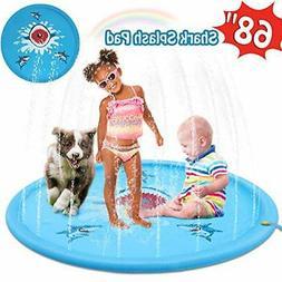 """HOMOFY Large 68"""" Splash Pad Outdoor Toys for Kids,Sprinkler"""