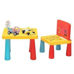 Kid Plastic Table and Chair Desk Set Furniture Activity Todd