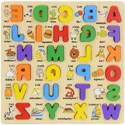 Kid Wooden Alphabet Matching Puzzle Toddler Board Early Lear