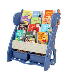 Kids Book Rack, 4 Sling Bookshelf, 2 Cube Bins for Toys Orga