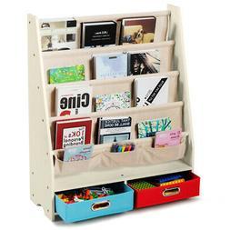Kids Book Rack Toys Organizer Shelves w/ 4 Sling Bookshelf &