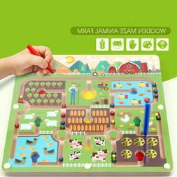 MagiDeal Kids Magnetic Beads Maze Board Game Children Educat