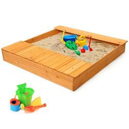 Kids Outdoor Playset Backyard Cedar Sandbox Children Play Sa