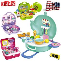 Kids Pretend Play Travel Suitcase Kitchen Cosmetic Set Toy T