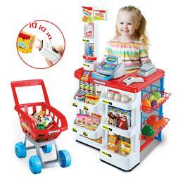 Kids Supermarket Store Food Pretend Play Set Cash Shopping T