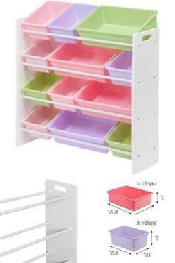 Kids Toy Organizer with 12 Storage Bins - 4 Large Bins and 8