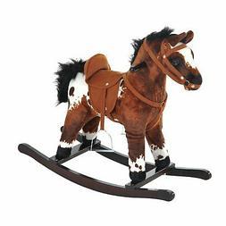 Kids Toy Rocking Horse Wood Plush Pony Traditional Gift w/Ne