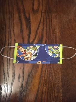 Kids Handmade Washable Toy Story Print Cotton  Face Mask Wit