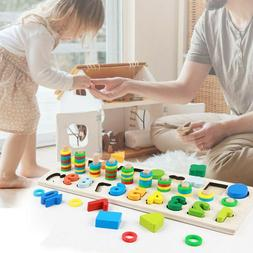 Kids Wood Puzzles Shape Sorter And Math Stacking Blocks Todd