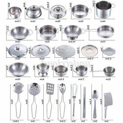 25Pcs Kids Child Pretend Play Toy Set Cookware Pan