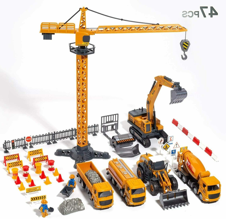 alloy construction vehicles truck toys set kids