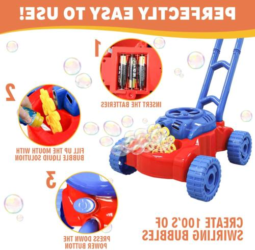 WhizBuilders Bubble Machine Mower for Kids Outdoor -