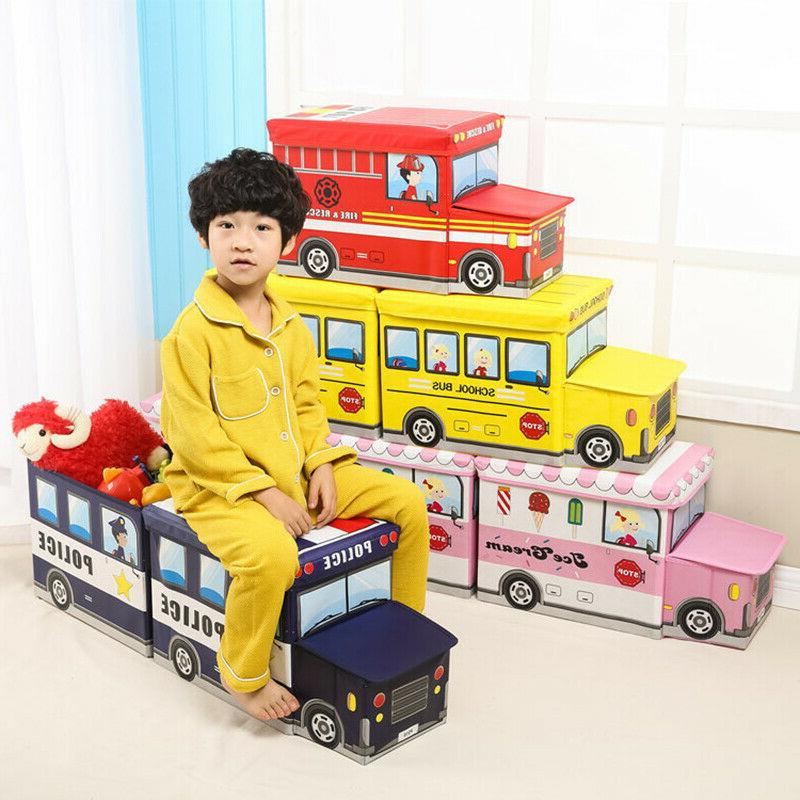 cartoon bus shaped organizer for kids folding